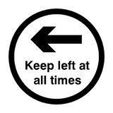 Keep Left At All Times Floor Sticker - Black - PVC Safety Signs
