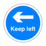 Keep Left Floor Sticker - Blue - PVC Safety Signs