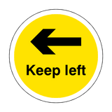 Keep Left Floor Sticker - Yellow - PVC Safety Signs
