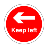 Keep Left Floor Sticker - Red - PVC Safety Signs