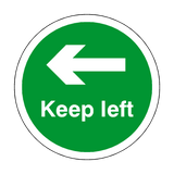 Keep Left Floor Sticker - Green - PVC Safety Signs