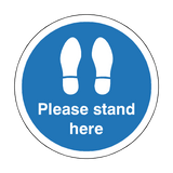 Please Stand Here Floor Sticker - Blue - PVC Safety Signs