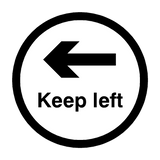 Keep Left Floor Sticker - Black - PVC Safety Signs