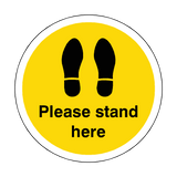 Please Stand Here Floor Sticker - Yellow - PVC Safety Signs