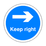 Keep Right Floor Sticker - Blue - PVC Safety Signs