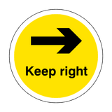 Keep Right Floor Sticker - Yellow - PVC Safety Signs
