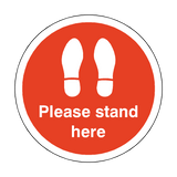 Please Stand Here Floor Sticker - Red - PVC Safety Signs
