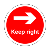 Keep Right Floor Sticker - Red - PVC Safety Signs