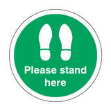 Please Stand Here Floor Sticker - Green - PVC Safety Signs