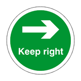 Keep Right Floor Sticker - Green - PVC Safety Signs