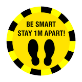 Stay 1 Metre Apart Floor Sticker - Yellow - PVC Safety Signs