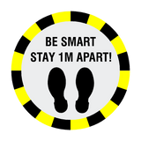 Stay 1 Metre Apart Floor Sticker - Black - PVC Safety Signs