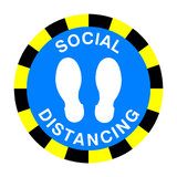 Social Distancing Floor Sticker - Blue - PVC Safety Signs