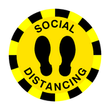 Social Distancing Floor Sticker - Yellow - PVC Safety Signs