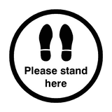 Please Stand Here Floor Sticker - Black - PVC Safety Signs