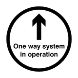 One Way System In Operation Floor Sticker - Black - PVC Safety Signs