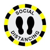 Social Distancing Floor Sticker - Black - PVC Safety Signs