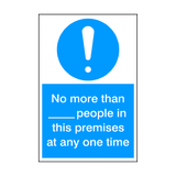 Limited Amount Of People In Premises Sign | PVC Safety Signs