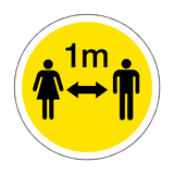 1 Metre Gap Floor Sticker - Yellow - PVC Safety Signs