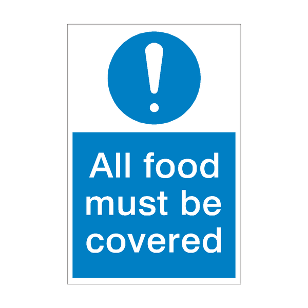 Food Must Be Covered Mandatory Sign | PVC Safety Signs
