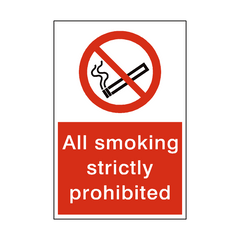 Smoking Strictly Prohibited Sign | PVC Safety Signs | Health and Safety Signs