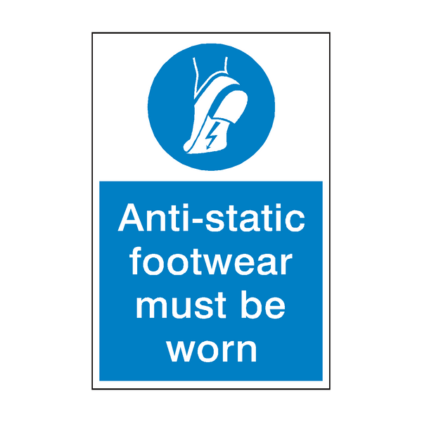 Anti Static Footwear Mandatory Sign - PVC Safety Signs