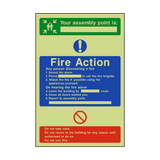Assembly Point Fire Action Photoluminescent Sign - PVC Safety Signs