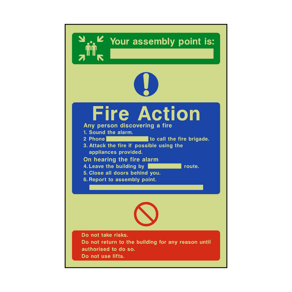 Assembly Point Fire Action Photoluminescent Sign | PVCSafetySigns.co.uk