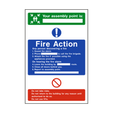 Assembly Point Fire Action Sign - PVC Safety Signs