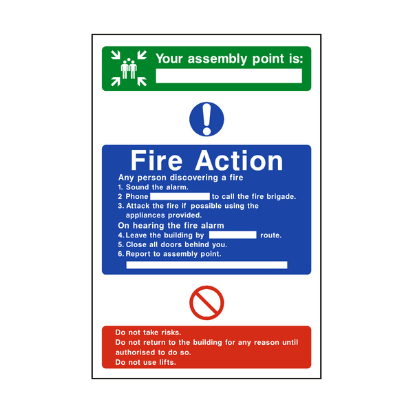 Assembly Point Fire Action Sign | PVCSafetySigns.co.uk
