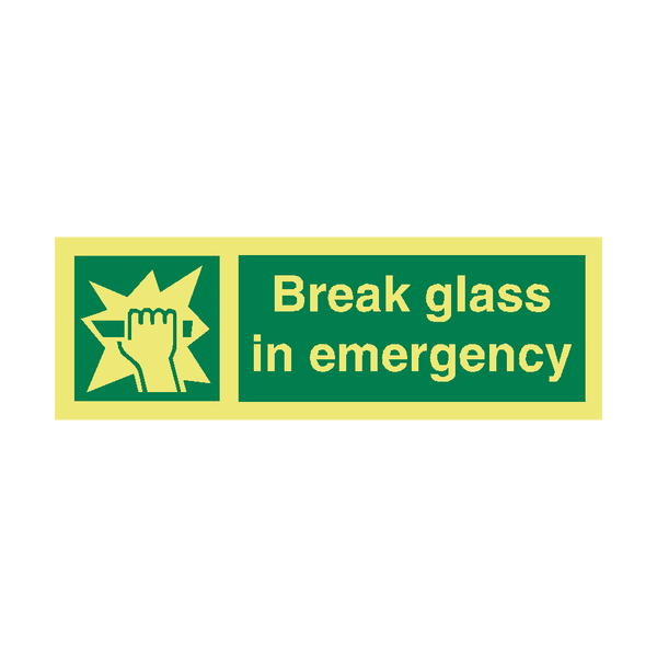 Break Glass IMO Safety Sign