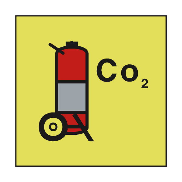 CO2 WHEELED FIRE EXTINGUISHER IMO SIGN