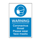 Coronavirus Threat - Please Wear Face Mask Sign | PVC Safety Signs