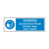 Coronavirus Threat - Please Wear Face Mask Safety Sign | PVC Safety Signs