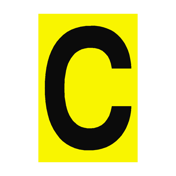 Letter C Yellow Sign | PVC Safety Signs