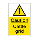 Caution Cattle Grid Sign Portrait | PVC Safety Signs