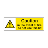 Event Of Fire Do Not Use Lift Sign | PVCSafetySigns.co.uk