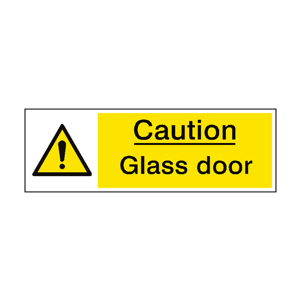 Caution Glass Door Hazard Sign | PVCSafetySigns.co.uk