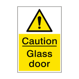 Caution Glass Door Sign Portrait | PVC Safety Signs