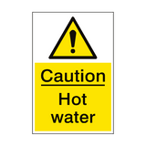 Caution Hot Water Sign Portrait | PVCSafetySigns.co.uk