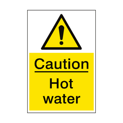 Caution Hot Water Sign Portrait | PVC Safety Signs | Health and Safety Signs