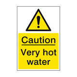 Very Hot Water Hazard Sign Portrait | PVCSafetySigns.co.uk