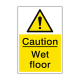 Caution Wet Floor Sign Portrait | PVC Safety Signs