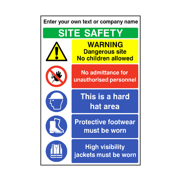 Construction Site Safety Custom Sign | PVCSafetySigns.co.uk