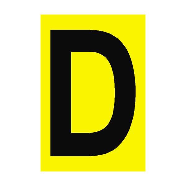 Letter D Yellow Sign - PVC Safety Signs