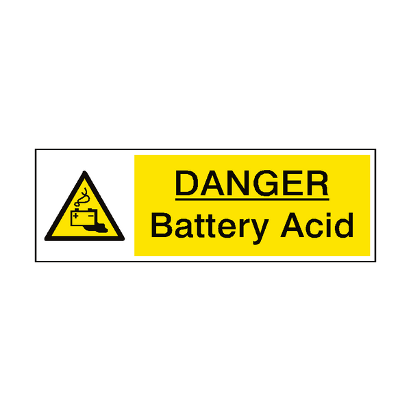 Danger Battery Acid Hazard Sign | PVCSafetySigns.co.uk
