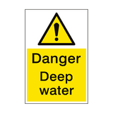 Danger Deep Water Sign Portrait | PVC Safety Signs