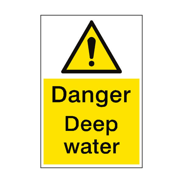 Danger Deep Water Sign Portrait | PVCSafetySigns.co.uk