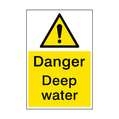 Danger Deep Water Sign Portrait | PVC Safety Signs | Health and Safety Signs