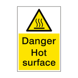 Danger Hot Surface Sign Portrait | PVC Safety Signs
